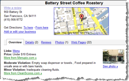 Google Maps using CleanScores data
