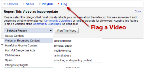 Flag a video in YouTube